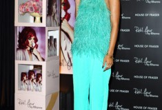 Get her haute look: Rihanna's shag-alicious turquoise Antonio Berardi look at the London launch of