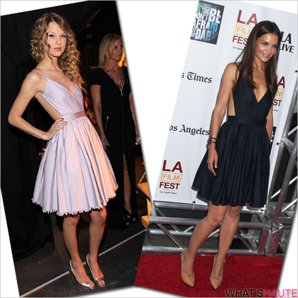 Taylor-Swift-vs-Katie-Holmes-in-Contrarian-Barbara-Bibb-Dress-Navy-Lavender