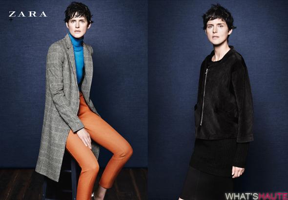Zara-Fall-Winter-2011-campaign-looks-3-and-4 orange pencil pants