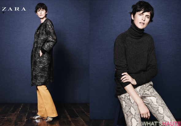 Zara-Fall-Winter-2011-campaign-looks-5-and-6 camel pants silver oxfords snake print pants black turtleneck