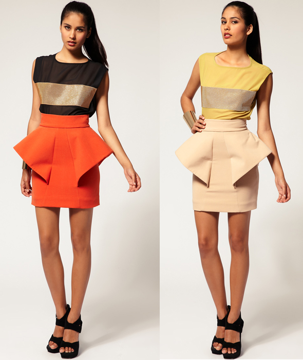 Aqua-'Klingon'-Peplum-Skirt-orange-and-nude-what's-haute