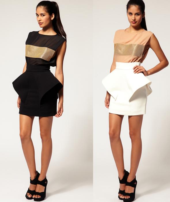 Aqua-'Klingon'-Peplum-Skirt-white-and-black-what's-haute
