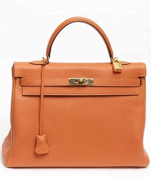 Barbara Taylor Bradford orange Hermès Kelly bag what's haute