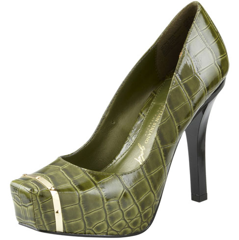 Christian-Siriano-for-Payless-Pearl-Platform-Pumps green olive crocodile side