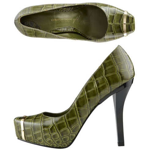 Christian-Siriano-for-Payless-Pearl-Platform-Pumps green olive crocodile