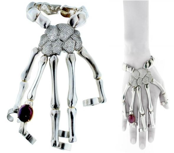 Delfina Delettrez Special Order Diamond and Cabochon Ruby Skeleton Hand Bracelet