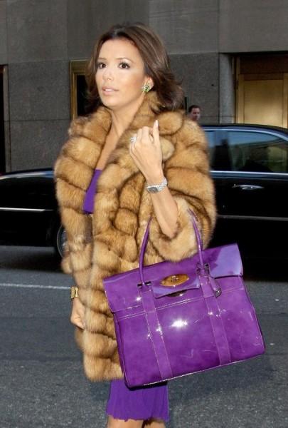 Eva Longoria fur coat purple Mulberry Bayswater satchel what's haute