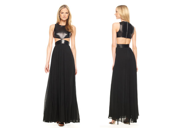 Michael-Kors-Leather-Bodice-Gown-front-back as seen on Beyonce Leighton Meester