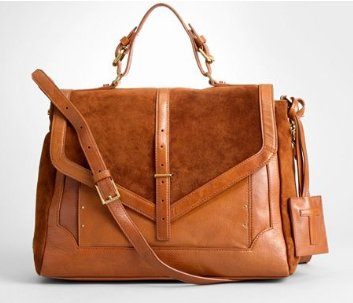 Tory Burch 797 Suede Satchel in cuoio