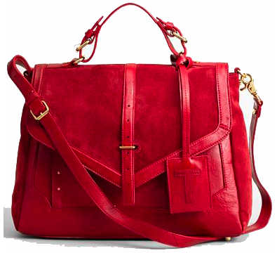 Tory Burch 797 Suede Satchel in maple red