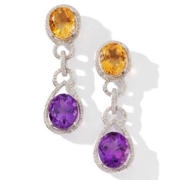 Ramona-Singer-13.81ct-Amethyst-and-Citrine-and-Diamond-Sterling-Silver-Drop-Earrings what's haute