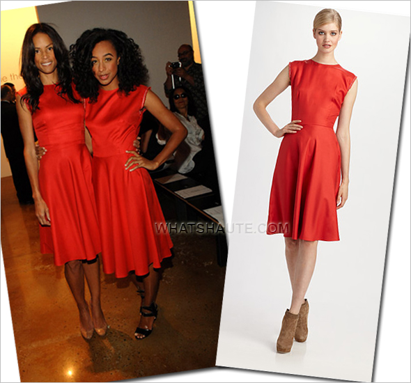 Veronica Webb or Corinne Bailey Rae in a red Sophie Theallet Silk Dress spring 2012 mercedes benz fashion week