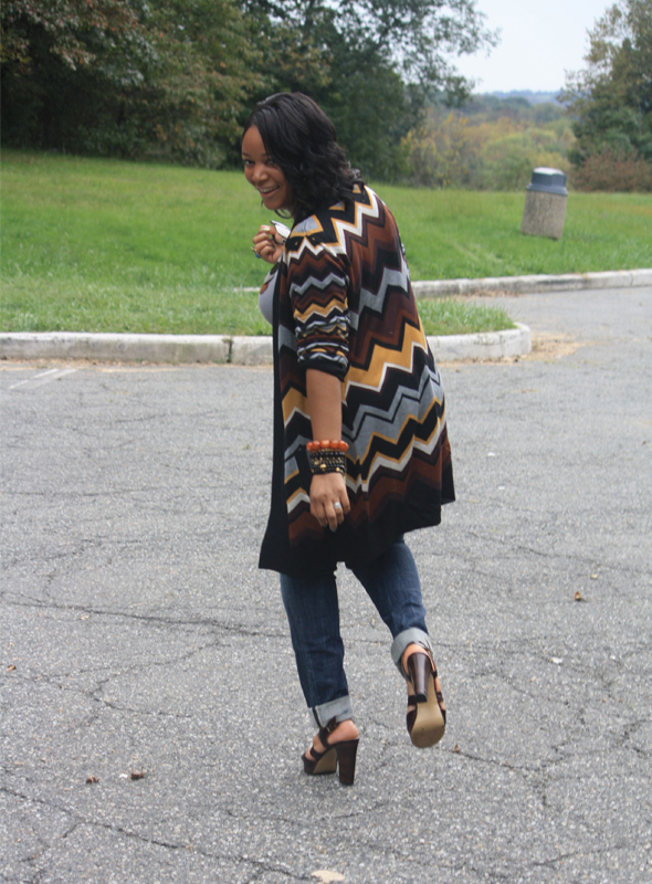 street style my style outfit of the day missoni for target cardigan nine west sandals ore 10 croc-embossed leather handbag seven7 jeans