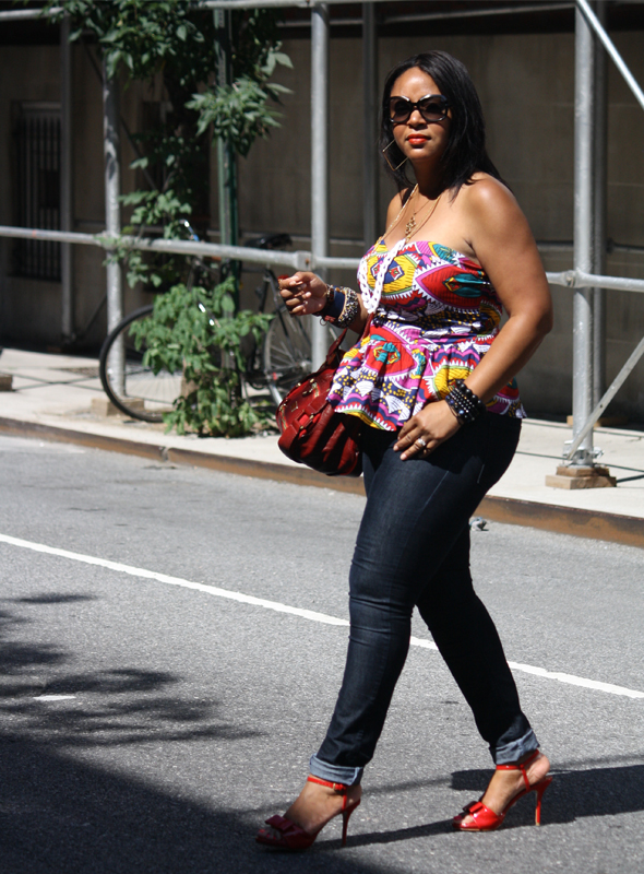 street style my-style-kersh-printed-peplum-top-zara-blue-jeans-red-shoes-jimmy-choo-mahala-maddy-bag-3