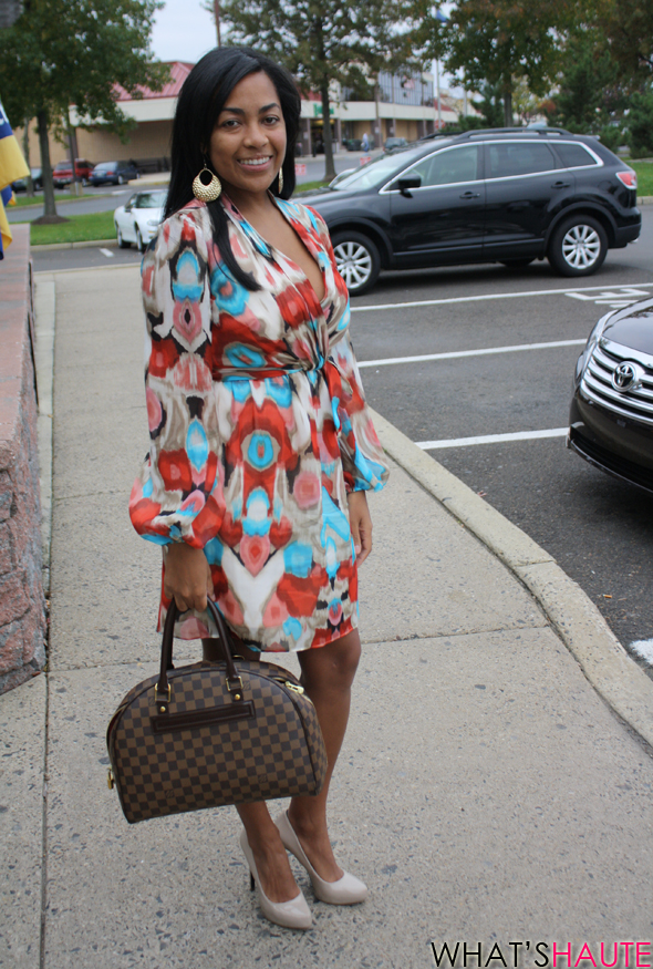 Carmen-street-style Laundry dress Louis Vuitton Damier canvas Duomo Rachel Roy nude pumps