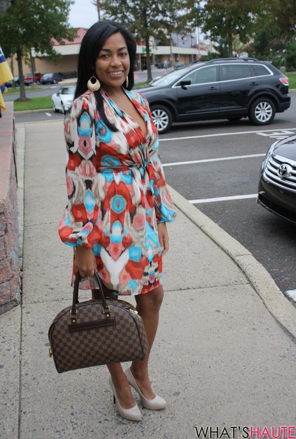 Carmen-street-style Laundry dress Louis Vuitton Damier canvas Duomo Rachel Roy nude pumps