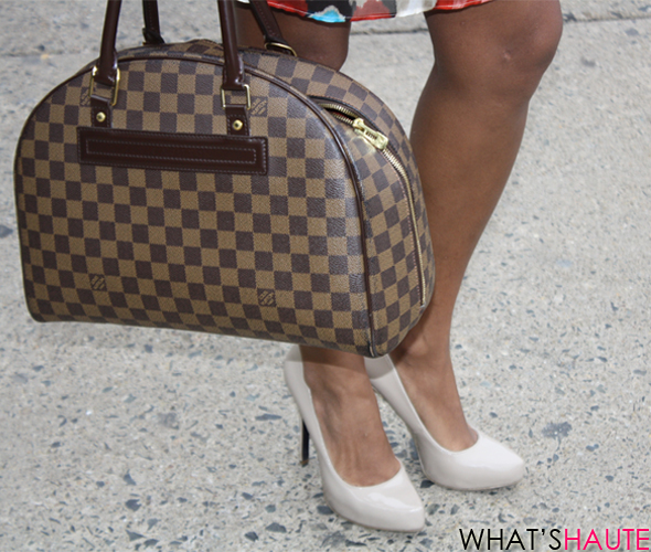Carmen-street-style-Louis Vuitton Damier canvas Duomo Rachel Roy nude pumps