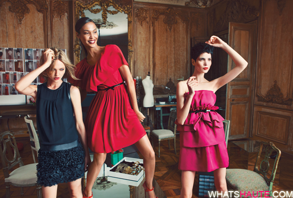 Giambattista-Valli-for-Impulse-only-at-Macy's-Black-Dress-$139-Red-Dress-$99-Pink-Dress-$139 Sasha Pivovarova, Joan Smalls, Hanaa Ben Abdesslem what's haute