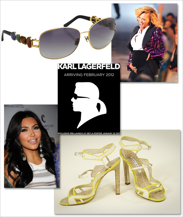 Karl Lagerfeld Fossil Inc. to create a line of men's and women's watches Linda Farrow, Oscar de la Renta sunglasses collection Marcia Patmos for Manolo Blahnik shoes Pregnant Beyonce Halloween costume Kim Kardashian personal Style what's haute