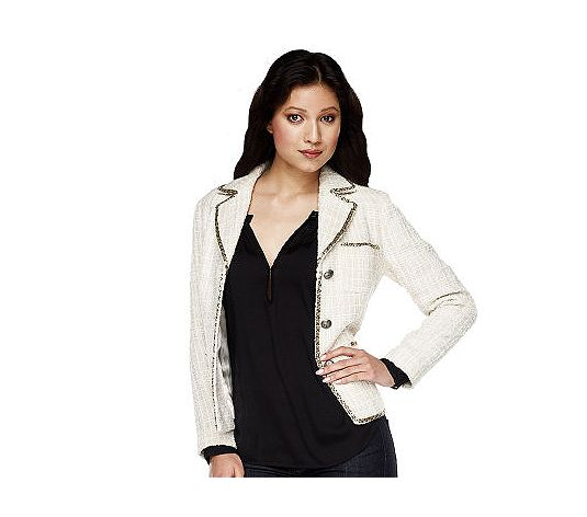 Luxe Rachel Zoe Notch Collar Boucle Jacket with Beaded Trim white military jacket what's haute