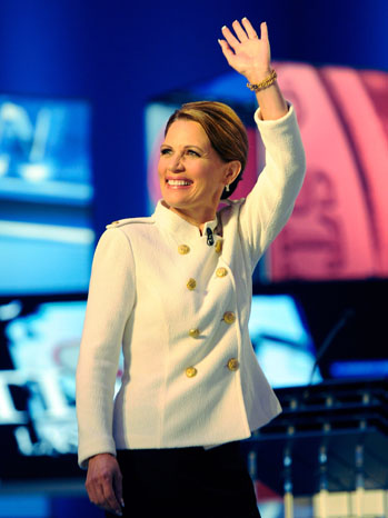 Michele Bachmann Republican (GOP) Presidential Candidate Debate Las Vegas Lafayette 148 New York white military jacket what's haute