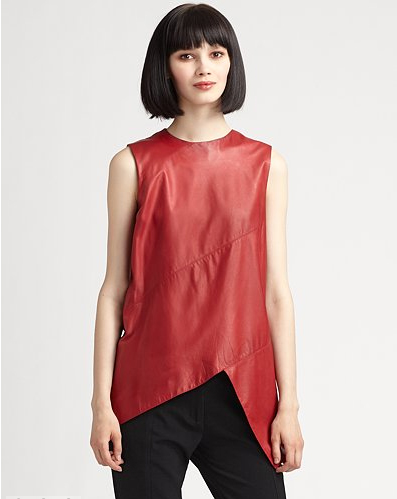 Proenza-Schouler-Sleeveless-Spiral-Leather-Top