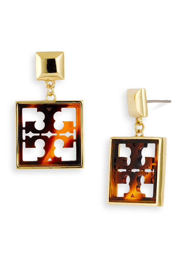 Tory Burch Small Logo Drop Earrings what's haute