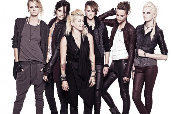 Trish Summerville with models - Dragon Tattoo collection for H&M Stieg Larrson The Girl with the Dragon Tattoo