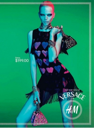 Versace for H&M heart covered fringed minidress
