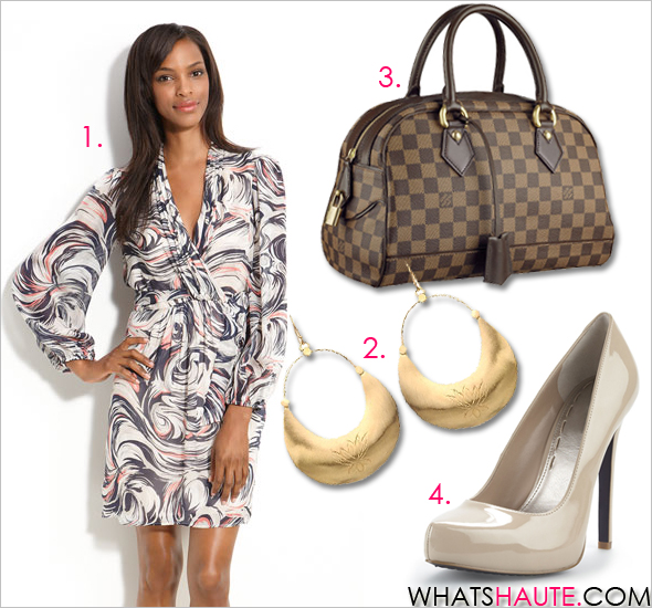 get-her-haute-look-carmen Laundry by Shelli Segal Print Chiffon Dress Satya Jewelry Medium Gold Vermeil Crescent Earrings RACHEL Rachel Roy Carmelle nude patent Pumps Louis Vuitton Damier Duomo handbag