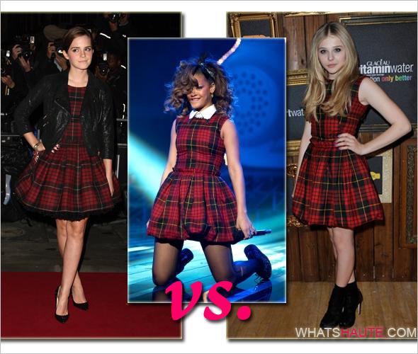 Emma-Watson-Rihanna-Chloe-Moretz-in-McQ-Alexander-McQueen-Tartan-Pouf-Skirt-Dress