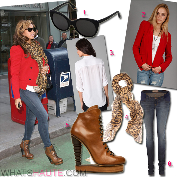 Get-her-haute-look-Beyonce Alexander McQueen Silk Camel Leopard Skull Scarf Alain Quilici Payson Skate Lace-up Booties red jacket Victoria Beckham VB0060 Modern Cat-Eye Black Sunglasses Rebecca Minkoff Silk Becky Jacket James Perse Utility Top J Brand maternity jeans in New York City