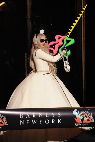 Lady Gaga at the ribbon cutting for Gaga's Workshop at Barneys New York.
