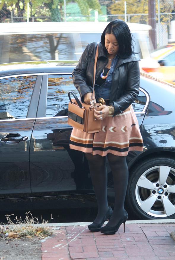 My-style-H&M-denim-top-Asos-Aztec-print-skirt-Kate-Spade-Bow-Bridge-Kennedy-bag-Charles-David-pumps-1