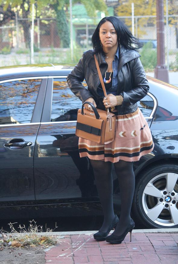 My-style-H&M-denim-top-Asos-Aztec-print-skirt-Kate-Spade-Bow-Bridge-Kennedy-bag-Charles-David-pumps