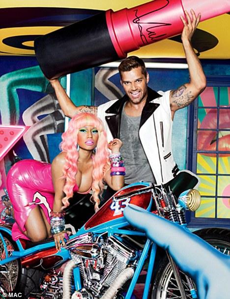 Nicki Minaj and Ricky Martin in Mac Viva Glam lipstick ad