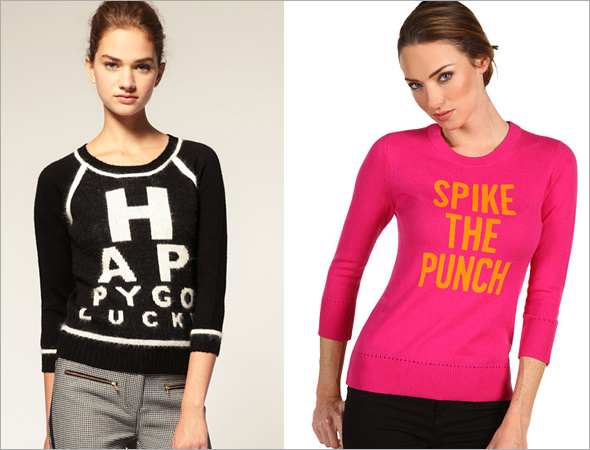 Asos eye test sweater Kate Spade spike the punch sweater