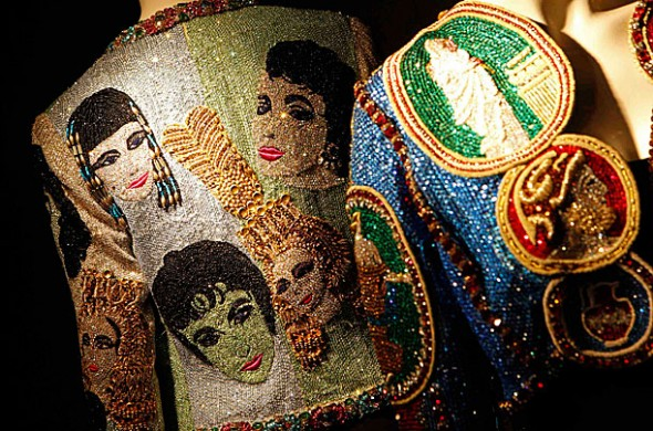 Elizabeth Taylor auction A Versace Beaded Evening jacket that belonged to the actress, circa 1992, is displayed at Christie's