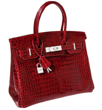Herms Exceptional Collection Shiny Rouge H Porosus Crocodile 30 cm Birkin Bag with Solid 18K White Gold &amp; Diamond Hardware