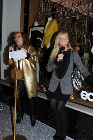 Jennifer Saunders and Emma Bunton outside Stella McCartney flagship store
