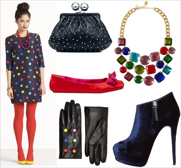 Kate Spade dress gloves satin flats necklace Giuseppe Zanotti velvet booties Tiffany & Co Vivian clutch