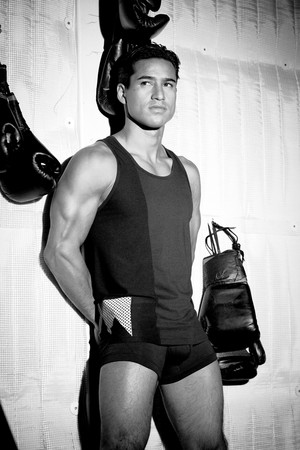 Mario Lopez models modeling his RatedM underwear collection
