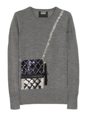 Markus Lupfer Handbag sequined merino wool sweater