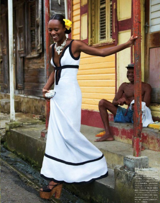 Pop Magazine editor Shala Monroque was shot by Tommy Ton in St. Lucia for the December 2012 issue of Vogue Japan