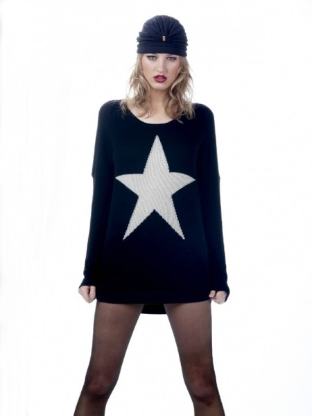 Torn by Ronny Kobo Jovia Star Sweater in Black