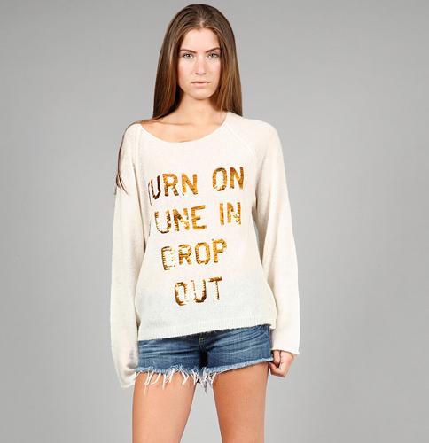 Wildfox Turn On, Tune In Pennylane Sweater in Cream
