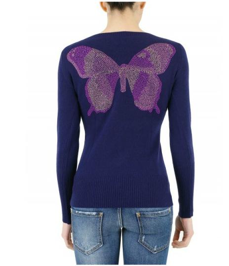 e.vil-CASHMERE-KNIT-V-NECK-Butterfly sweater