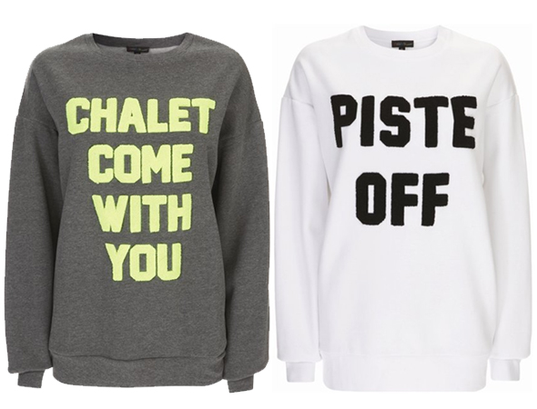 Ashish for Topshop Chalet Come With You and Piste Off sweatshirts