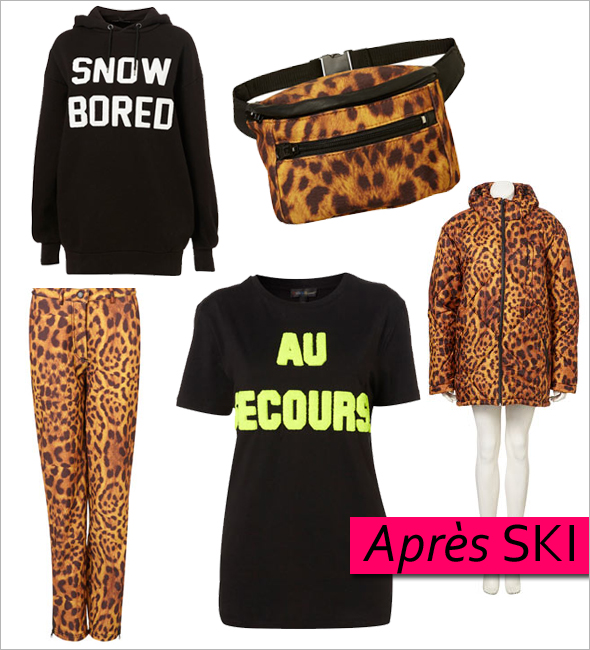 Ashish-for-Topshop-ski collection puffy jackets, ski pants, hoodies, tees fanny packs leopard print Chalet Come With You Piste Off Snow Bored Au Secors