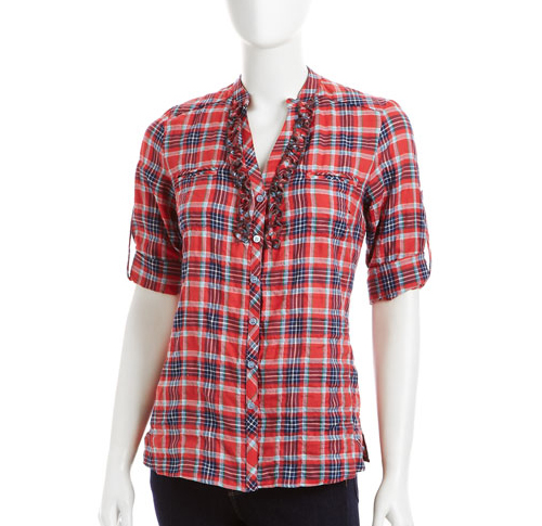 Drew Plaid Ruffle-Front Blouse in red